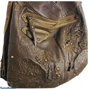 COLE HAAN g series leather applique boho Bag